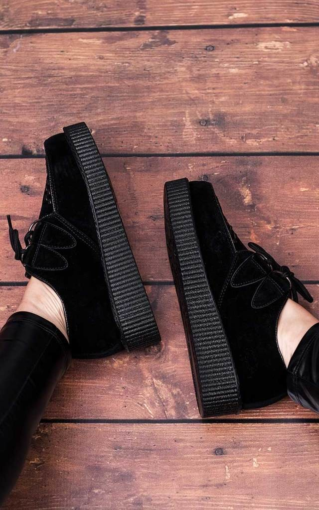 JOSEPHINE Lace Up Flat Platform Creeper Sneaker Pumps - Black by SpyLoveBuy