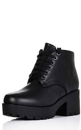 MARVEL Chunky Heel Platform Ankle Boots - Black Leather Style by SpyLoveBuy