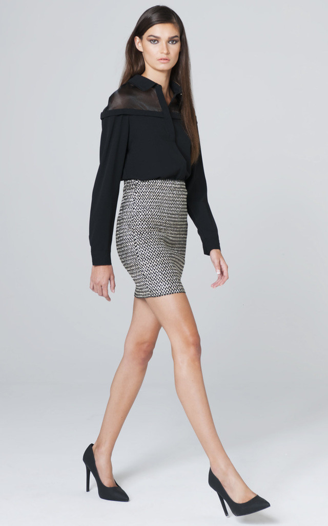 METALLIC STRUCTURED MESH SKIRT by Lady Zee