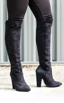 Toria stretch block heel knee high tall boots - black suede style by SpyLoveBuy Product photo