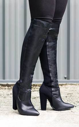 Toria stretch block heel knee high tall boots - black leather style by SpyLoveBuy Product photo