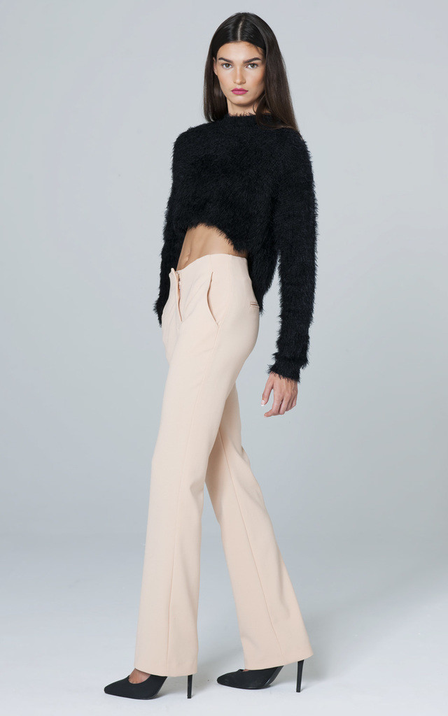 LARGE NUDE/LIGHT PINK TROUSERS WITH A ZIPPER by Lady Zee