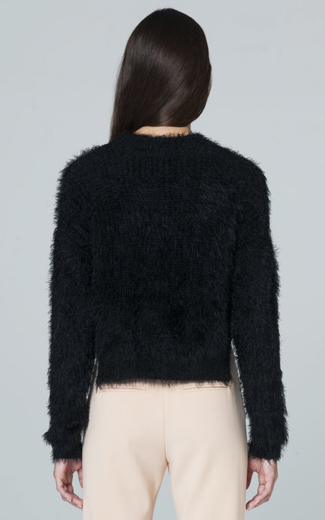 CROP HAIRY WOOL SWEATER IN BLACK by Lady Zee