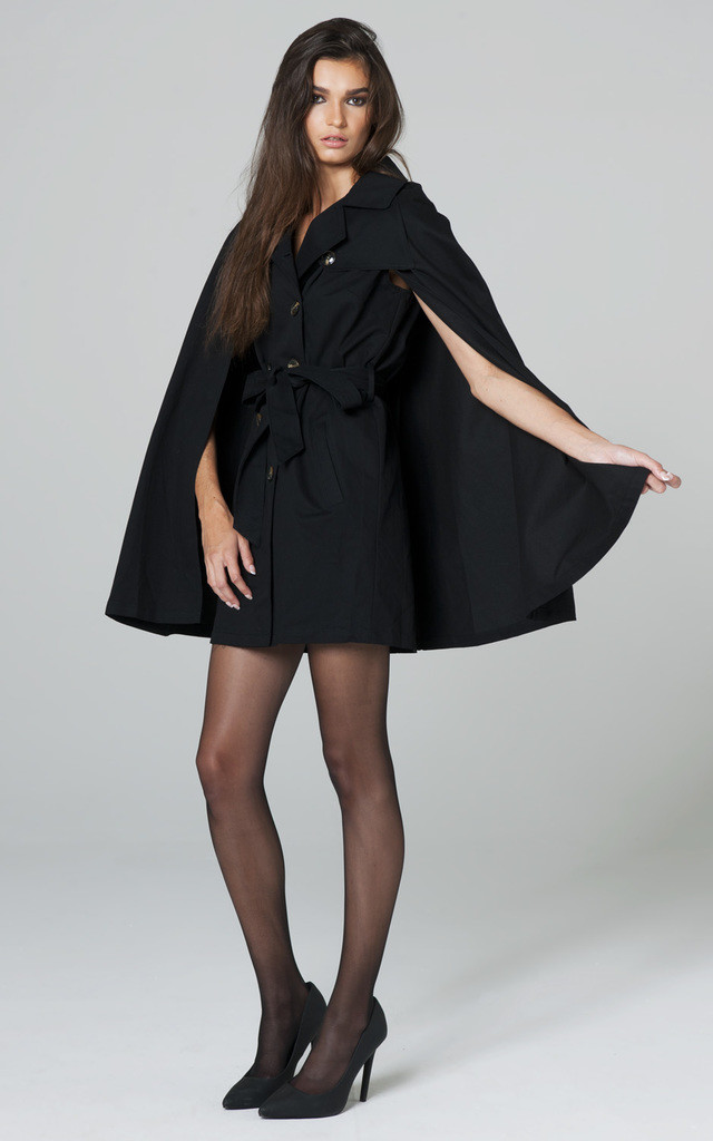 CROSSED BLACK TRENCH CAPE WITH DEEP ARMHOLES by Lady Zee