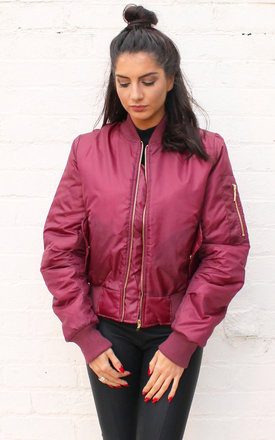 Ma1 detail padded bomber jacket in burgundy by One Nation Clothing Product photo