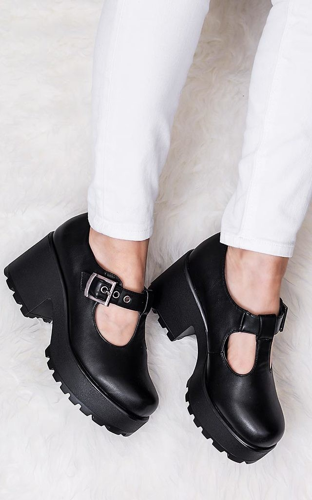 CATTIE Heeled Cleated Sole Platform Shoes - Black Leather Style by SpyLoveBuy