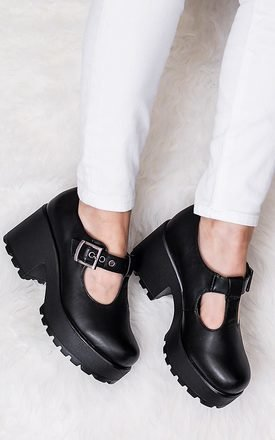 Cattie heeled cleated sole platform shoes - black leather style by SpyLoveBuy Product photo