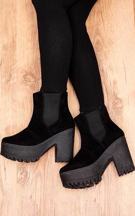 Varcity cleated sole chelsea ankle boots - black suede style by SpyLoveBuy Product photo
