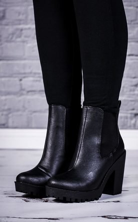 Physical heeled chunky platform chelsea ankle boots - black leather style by SpyLoveBuy Product photo