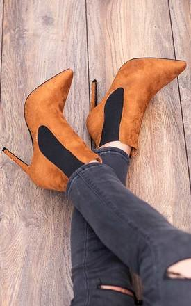Alexandria pointed toe high heel stiletto chelsea boots - tan suede style by SpyLoveBuy Product photo