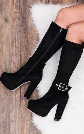 Steph heeled buckle platform knee high boots - black suede style by SpyLoveBuy Product photo