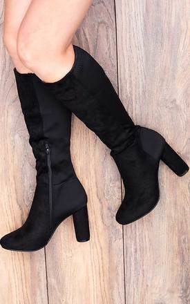 Waukee stretch block heel knee high tall boots - black suede style by SpyLoveBuy Product photo