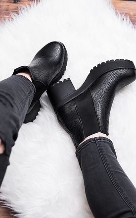Nassty cleated sole platform chelsea ankle boots - black croc leather style by SpyLoveBuy Product photo