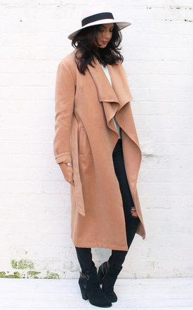Premium belted waterfall front wool coat in camel by One Nation Clothing Product photo