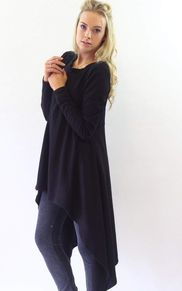 Hazel Black Hi Lo Jumper Dress by LagenLuxe