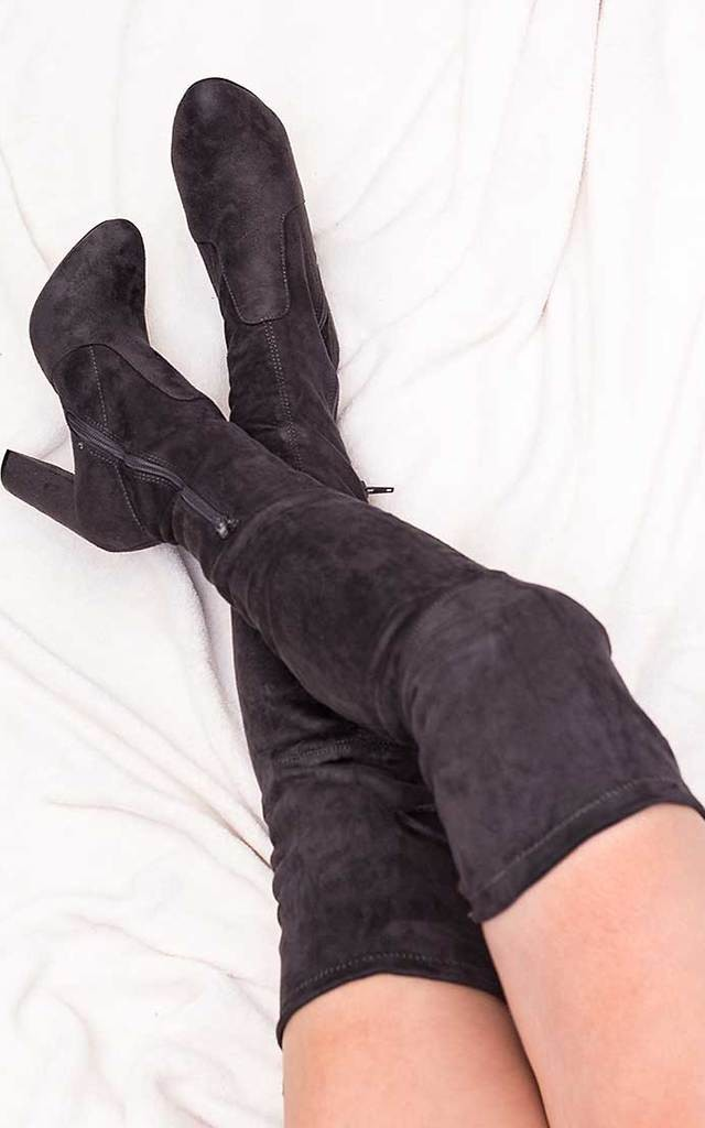 JACKSON Lace Up Block Heel Over Knee Tall Boots - Grey Suede Style by SpyLoveBuy