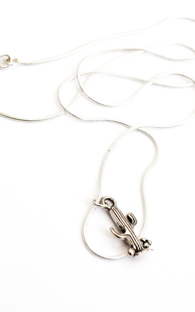 Silver Plated Cactus Midi Necklace by Wanderdusk