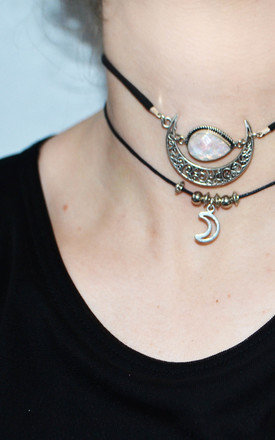 BEADED MOON CORD CHOKER by Wanderdusk
