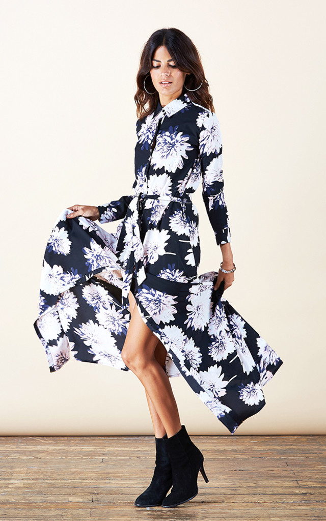 Maxi Shirt Dress in Midnight Bloom image