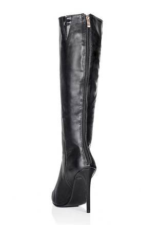 KIND Heeled Pointed Toe Knee High Boots - Black Leather Style by SpyLoveBuy