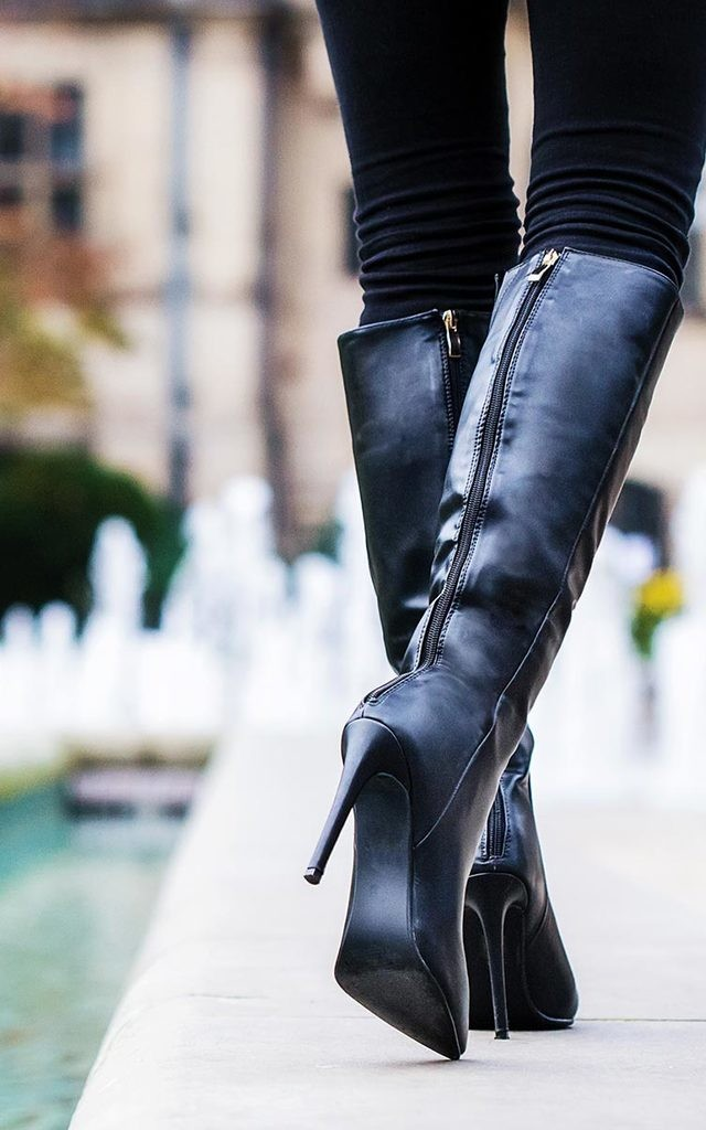 33ddb8c0774c KIND Heeled Pointed Toe Knee High Boots - Black Leather Style by SpyLoveBuy