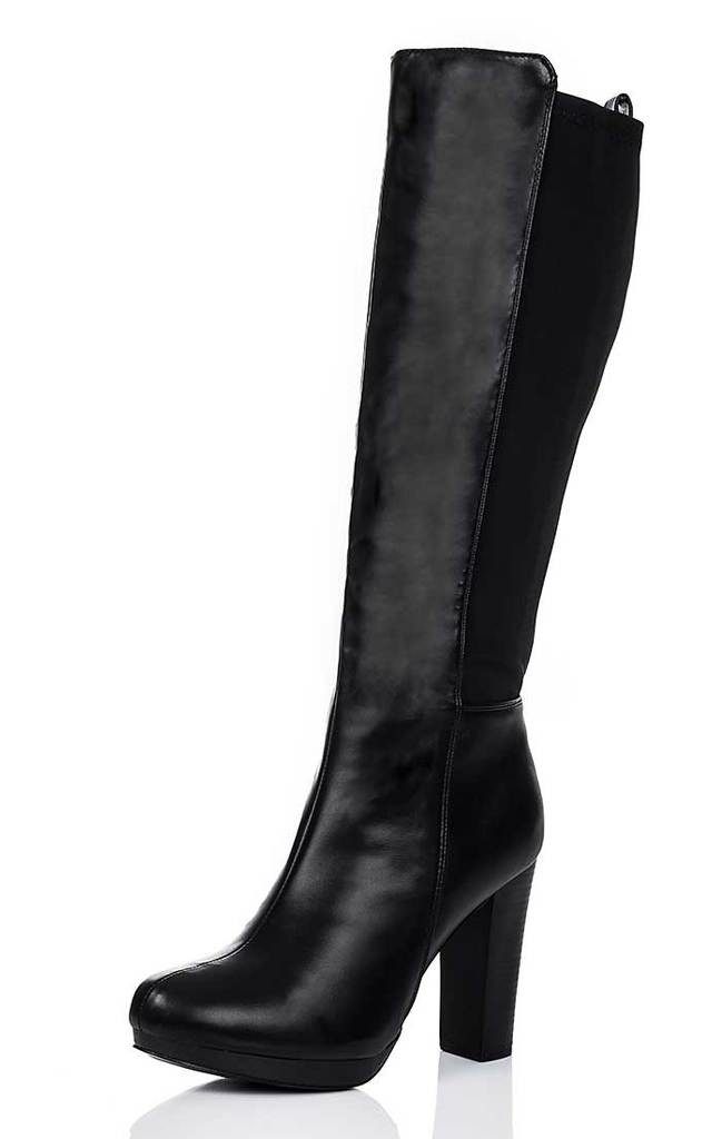 HAATI Block Heel Stretch Knee High Boots - Black Leather Style by SpyLoveBuy