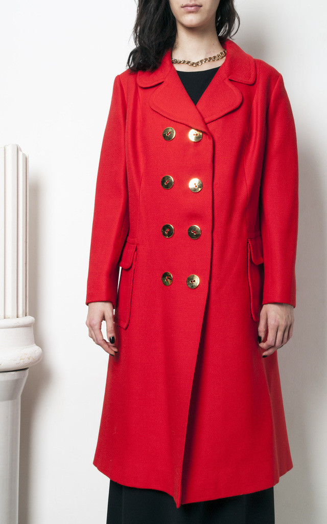 70s vintage double breasted long red coat w golden buttons by Pop Sick Vintage