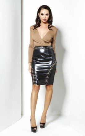 Victoria faux leather & chain detail skirt by NaaNaa Product photo