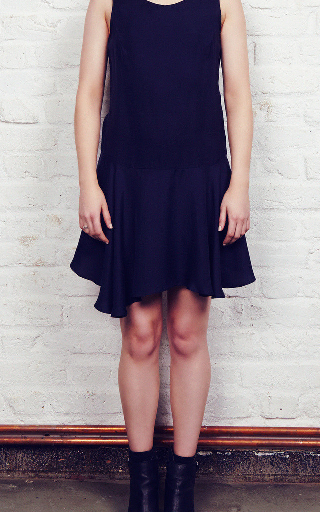 Navy Backless Slip Dress by Maria Steffani