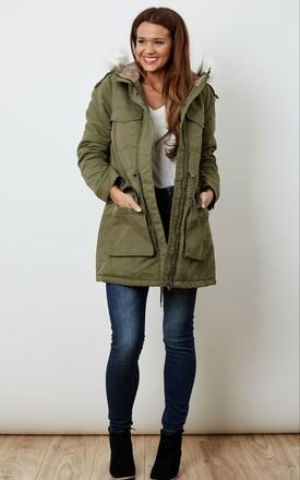 Hooded white faux fur green parka by VM Product photo