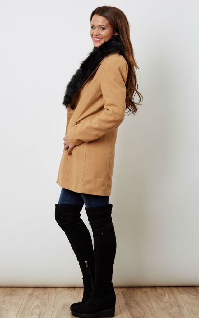 Daisy Faux Fur Collar Tobacco Brown Jacket by VM