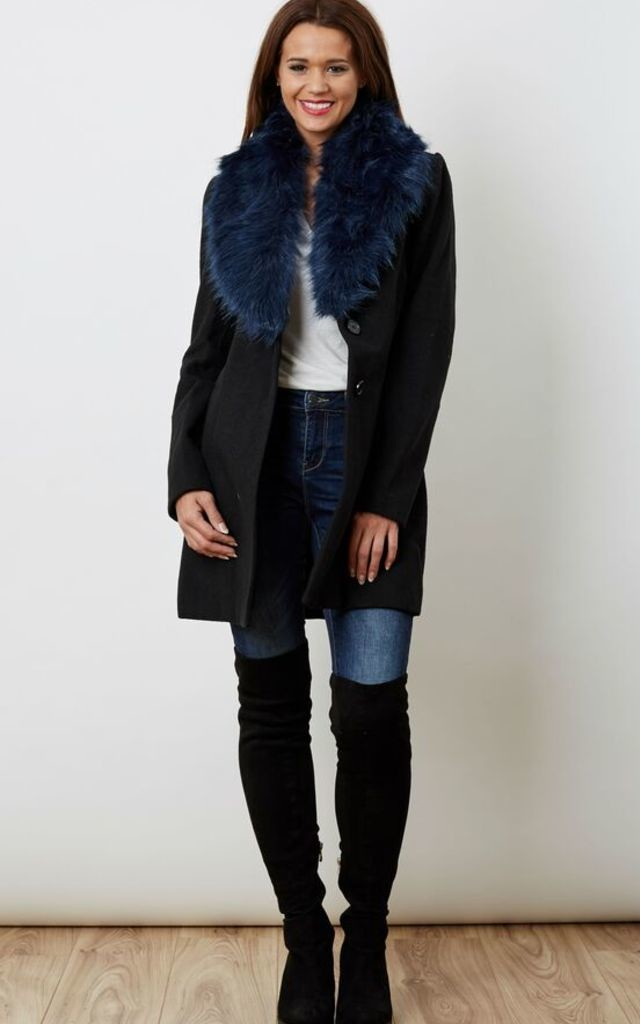 Blue Faux Fur Navy Jacket Silkfred