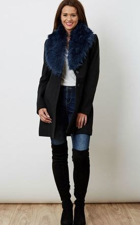 Blue faux fur navy jacket  by VM Product photo