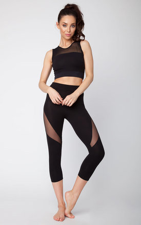 Quontum black mesh insert cropped leggings by Quontum Product photo