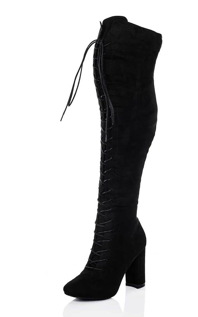 NISHA Lace Up Block Heel Over Knee Tall Boots - Black Suede Style by SpyLoveBuy