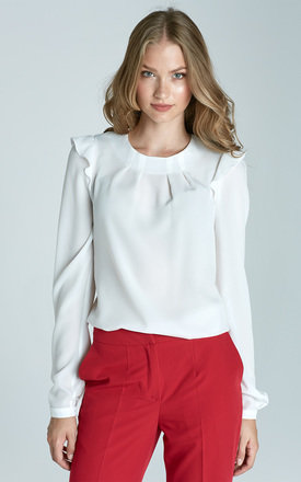 White blouse with frill shoulders  by Lanti Product photo