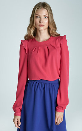 Fuchsia Pink Blouse With Frill Shoulders by 4FASHION Lanti 5732465965