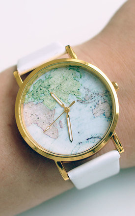 World map watch in white by Tallulah's Threads Product photo