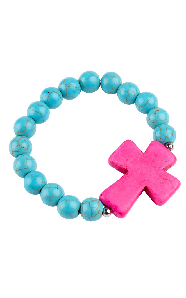 Premium Chunky Bead Pink Cross Bracelet by Helix and Felix