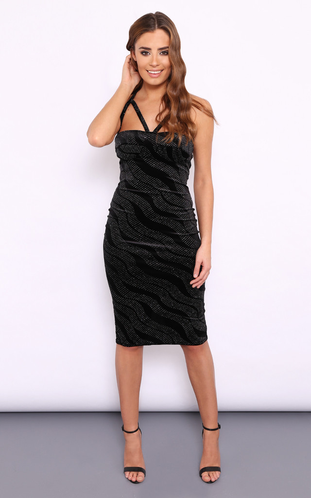 KELLY VELVET GLITTER CUT OUT DRESS by Dolly Rocka