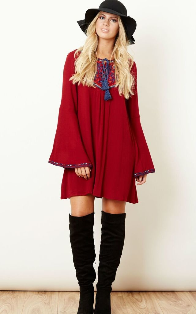 Folklore Tassle Smock Dress by Kiss The Sky