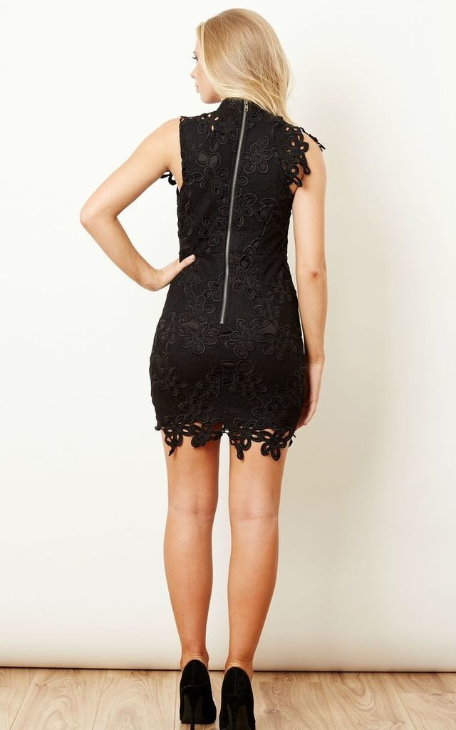 Black High Neck Eternal Lace Dress by Love Triangle