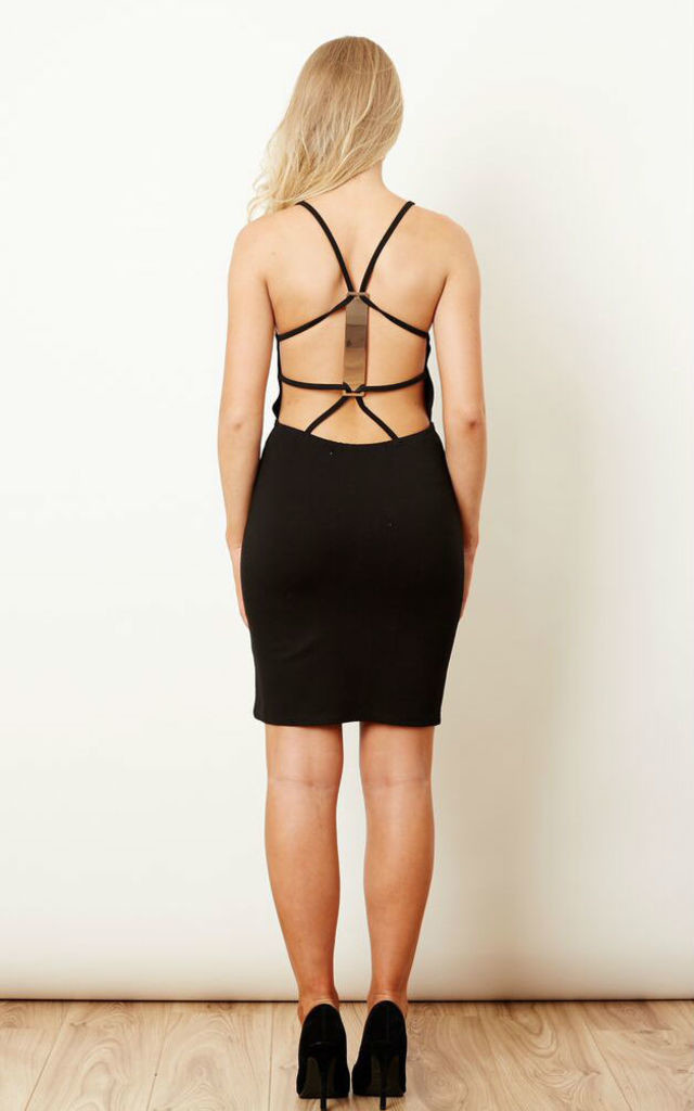Black Bar Strap Back Dress by Oh My Love