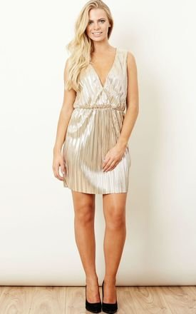 Shimmer Gold Wrap Mini Dress by Oh My Love Product photo