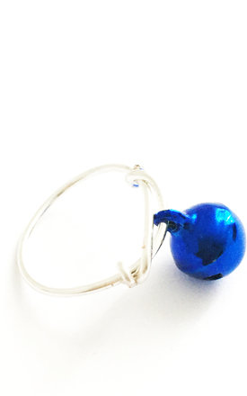 Christmas Bauble Ring Blue by Kat&Bee Jewellery