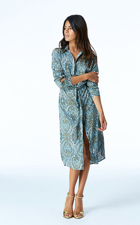 Midi shirt dress in blue paisley by Dancing Leopard Product photo