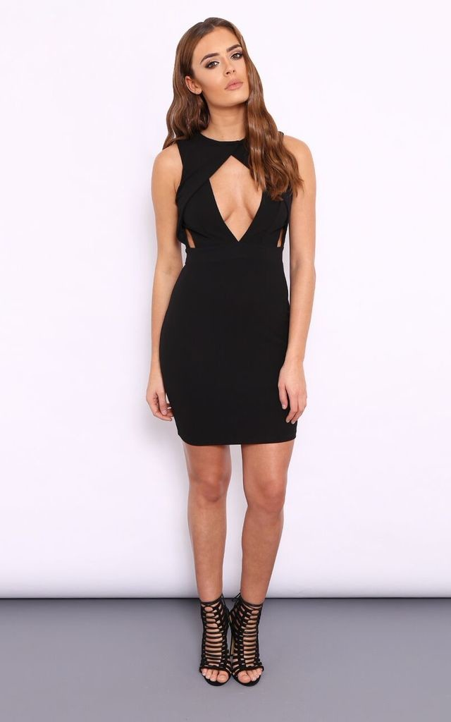 MEGAN BLACK CUT OUT DRESS by Dolly Rocka