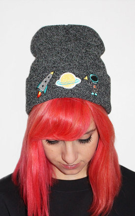 Space embroidered beanie by Tallulah's Threads Product photo