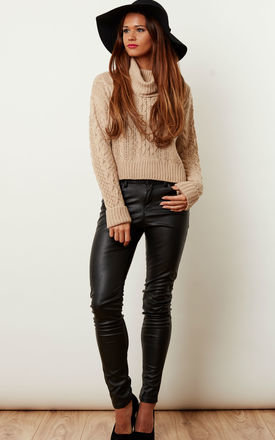 Beige chunky roll neck knit by Lilah Rose Product photo