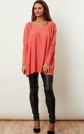 Coral Diamante Shoulder Swing Top by Bella and Blue